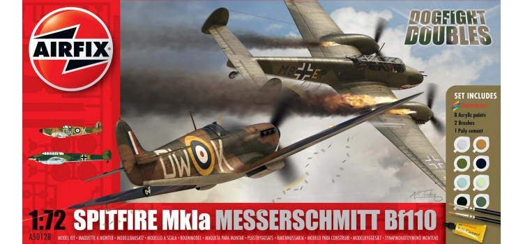 Messerschmitt Bf110 and Supermarine Spitfire MkIa Dogfight